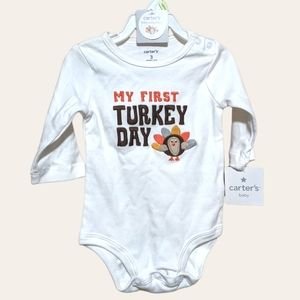 CARTER'S My First Turkey Day White Body Suit 0-3 months NEW